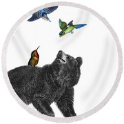 Bear With Birds Antique Illustration Round Beach Towel