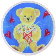Bear With Flowers Round Beach Towel