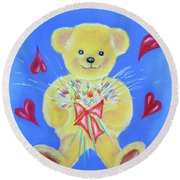 Round Beach Towel featuring the pastel Bear With Flowers by Elizabeth Lock