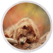 Bearly Asleep Round Beach Towel