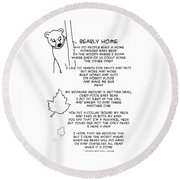 Round Beach Towel featuring the drawing Bearly Home by John Haldane