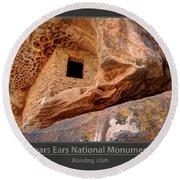 Bears Ears National Monument - Anasazi Ruin Round Beach Towel by Gary Whitton