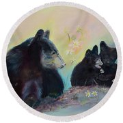 Bears Frolicking In Spring Round Beach Towel by Jan Dappen