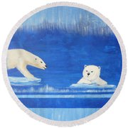 Bears In Global Warming Round Beach Towel