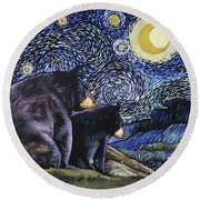 Beary Starry Nights Too Round Beach Towel