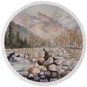 Beas River Manali Round Beach Towel