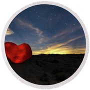 Round Beach Towel featuring the photograph Beating Heart by Tassanee Angiolillo