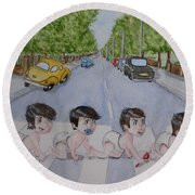 Round Beach Towel featuring the painting Beatles Abbey Road .... Babies by Kelly Mills