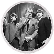 Beatles And Ed Sullivan Round Beach Towel