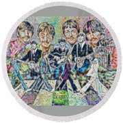 Beatles Tapestry Round Beach Towel by Dave Luebbert