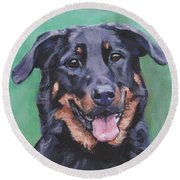Beauceron Portrait Round Beach Towel