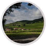 Beaujolais Vineyard Round Beach Towel