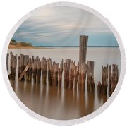 Round Beach Towel featuring the photograph Beautiful Aging Pilings In Keyport by Gary Slawsky