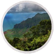 Beautiful And Illusive Kalalau Valley Round Beach Towel