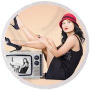 Beautiful Asian Pin Up Girl Posing On Retro Tv Set Round Beach Towel