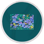 Beautiful Baby Blues - The Flowers Of Spring Round Beach Towel by Miriam Danar