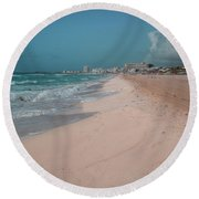 Beautiful Beach In Cancun, Mexico Round Beach Towel