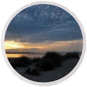 Beautiful Beach San Dunes Sunset And Clouds Round Beach Towel