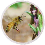 Beautiful Bee Round Beach Towel