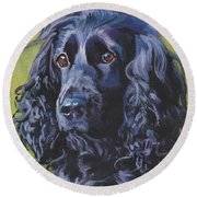 Beautiful Black English Cocker Spaniel Round Beach Towel