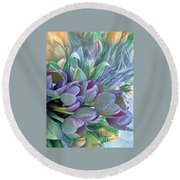 Round Beach Towel featuring the photograph Beautiful Blues Of Spring - Tulips by Miriam Danar