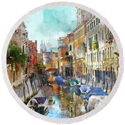 Beautiful Boats In Venice, Italy Round Beach Towel
