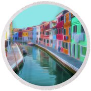 Beautiful Burano Venice Italy Round Beach Towel