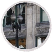 Round Beach Towel featuring the photograph Beautiful Chicago Gothic Grunge by Colleen Cornelius