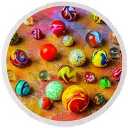 Beautiful Colored Glass Marbles Round Beach Towel