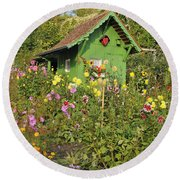 Beautiful Colorful Flower Garden Round Beach Towel