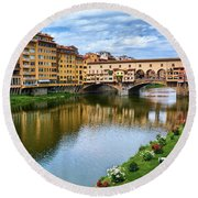 Ponte Vecchio On A Spring Day In Florence, Italy Round Beach Towel
