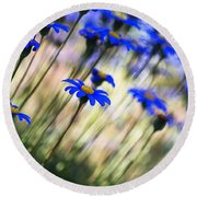 Beautiful Dancing Blue Flowers Romance Round Beach Towel