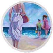 Beautiful Day At The Beach Round Beach Towel
