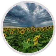 Round Beach Towel featuring the photograph Beautiful Disaster  by Aaron J Groen