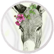 Beautiful Donkey Round Beach Towel