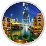 Beautiful Downtown Area In Dubai At Night, Dubai, United Arab Emirates Round Beach Towel