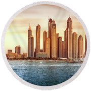 Beautiful Dubai Cityscape Round Beach Towel