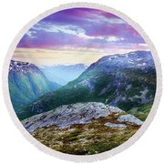 Light In A Valley Round Beach Towel