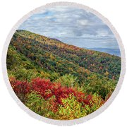 Round Beach Towel featuring the photograph Beautiful Fall Foliage In The Blue Ridge Mountains by Lori Coleman