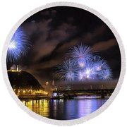 Beautiful Fireworks In Budapest Hungary Round Beach Towel