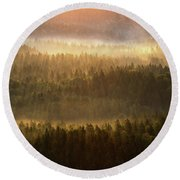 Beautiful Foggy Forest During Autumn Sunrise, Saxon Switzerland, Germany Round Beach Towel