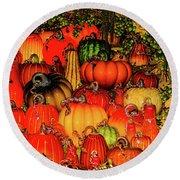 Beautiful Glass Pumpkins Round Beach Towel