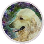 Round Beach Towel featuring the painting Beautiful Golden by Claire Bull