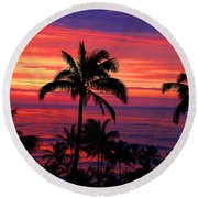 Beautiful Hawaiian Sunset Round Beach Towel by Michael Rucker