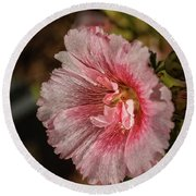 Beautiful Hollyhock Round Beach Towel
