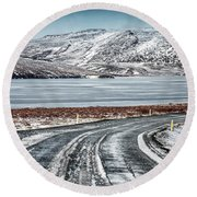 Beautiful Iceland Landscape Round Beach Towel