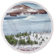 Beautiful Icelandic Landscape Round Beach Towel