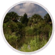 Beautiful Landscape Of Trees Round Beach Towel