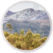 Beautiful Landscape With Partly Snowed Mountain  Round Beach Towel