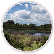 Beautiful Marsh View Round Beach Towel